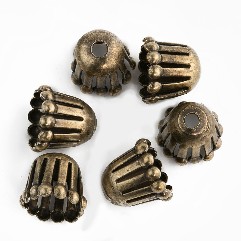 Oxidized brass fringed solid brass bead cap. 8x9mm. Pkg of 6. b9-2448(e)