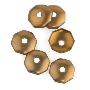 Solid brass octagonal slightly domed bead cap. 11x3mm. Pkg 6. b9-2453(e)