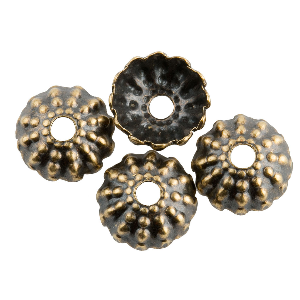 Oxidized brass fluted granulated design bead cap.  8mm.  Pkg 12.  b9-2457