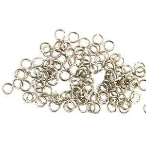 Vintage Oxidized silver plated 21 gauge 4mm round open jump rings. Pkg 100.  b9-2471