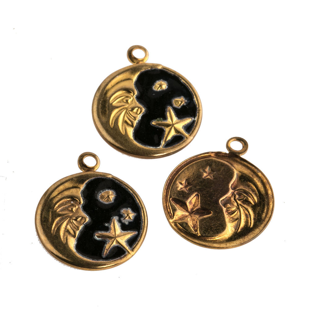 Vintage stamped brass man on the moon charm with black enamel.  13mm. 1 ring.  Pkg. 2. b9-2472