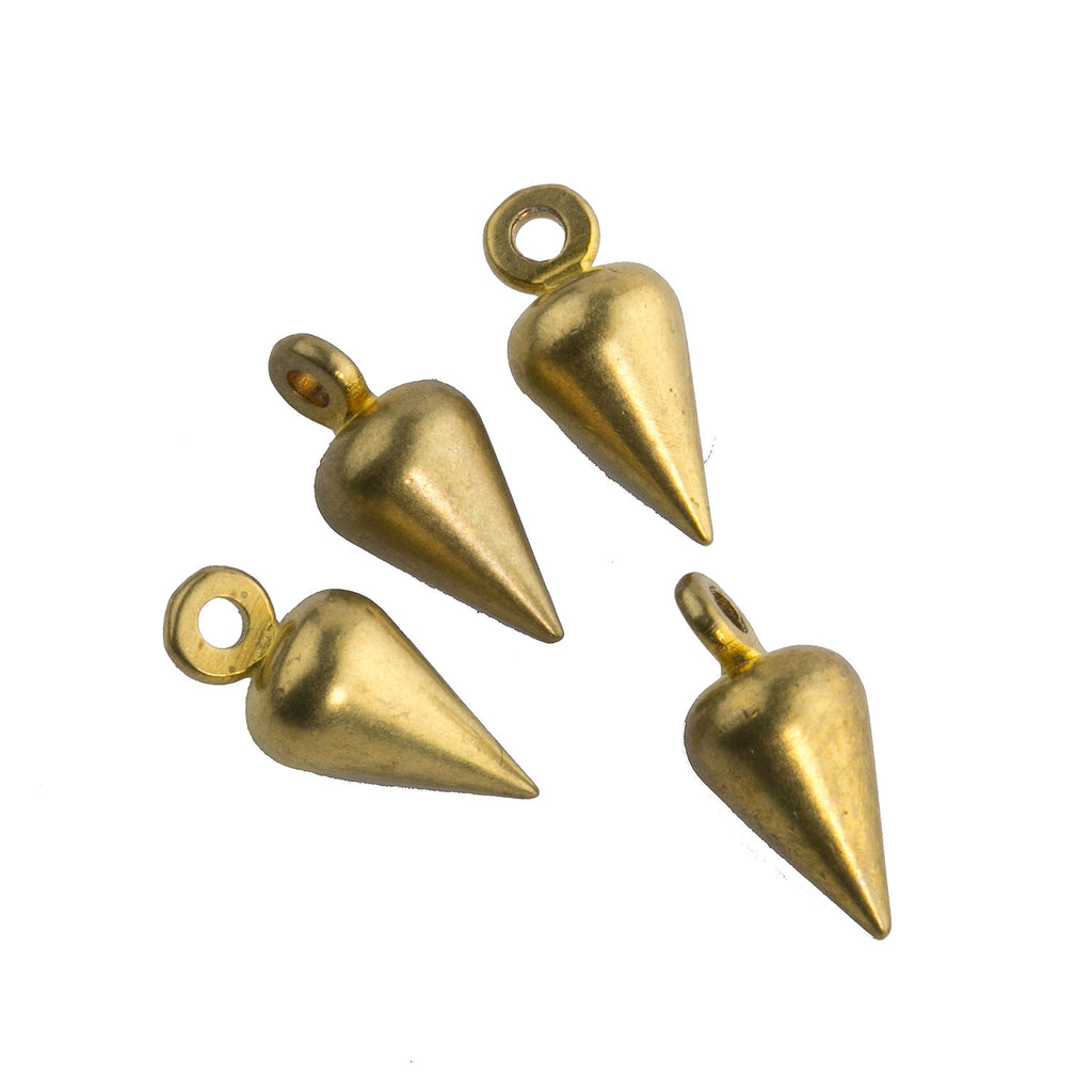 Vintage antiqued solid brass 1 ring teardrop.  7.5x4mm.  Package of 4