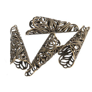 Antiqued solid brass filigree cone.  29x10mm.Pkg 2. b9-2474