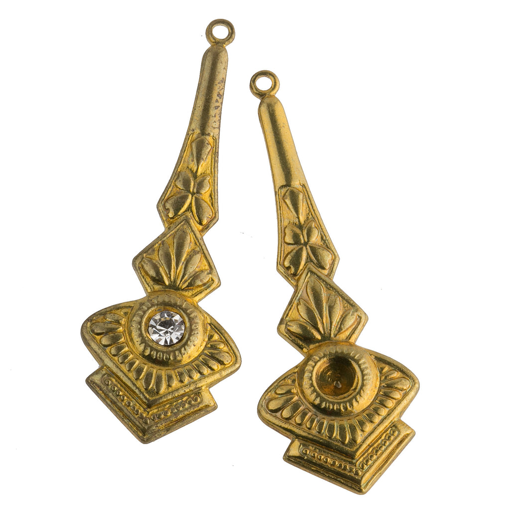 Brass pendant with rhinestone setting 41x15mm. 1 pair. b9-2479