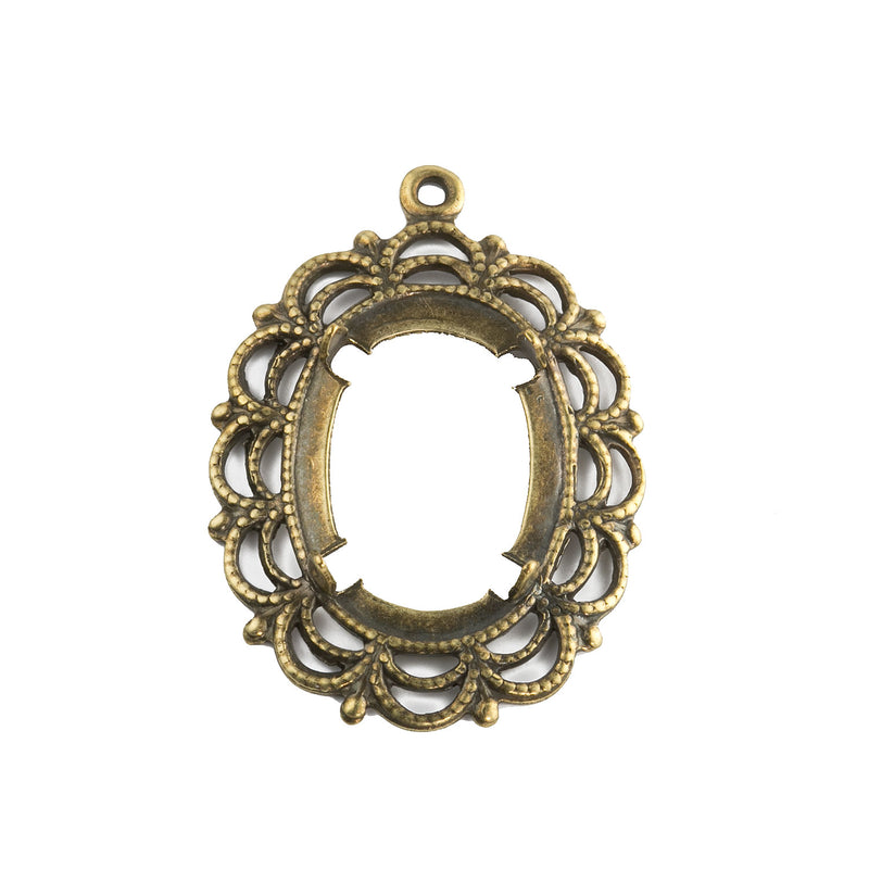 Vintage antiqued brass filigree pendant with prong setting for 18x13mm cabochon. Open back. scalloped border Pkg of 1. b9-2480