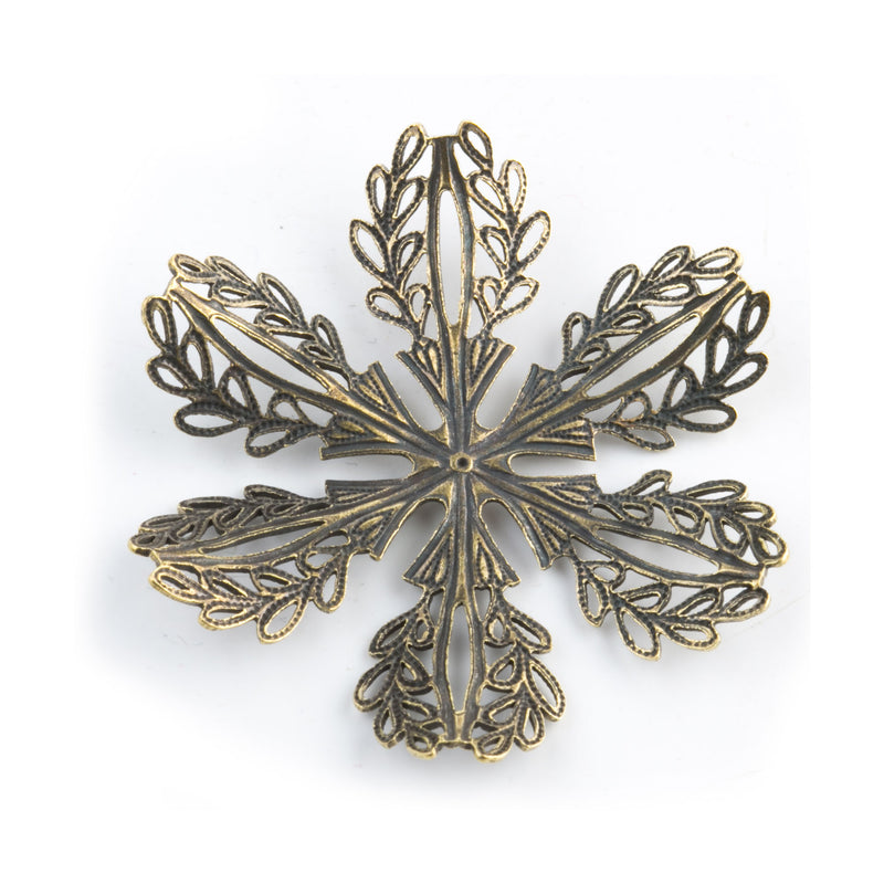 Antiqued annealed 6-petaled brass filigree wrap for a stone or cabochon 40mm in diameter. 1 pc. b9-2481