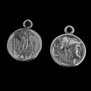 Antiqued silver Roman coin charm.  14mm. different image each side. Sold individually. 1 pc.  b9-2487