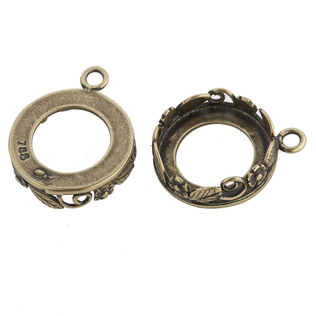 Antiqued brass 1 ring floral bezel pendant setting for 14mm stone. 1pc.  b9-2486