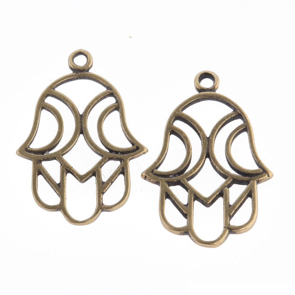 Antiqued brass Hamsa charm.  21x14mm.  2  sided.  Package of 2.  b9-2488