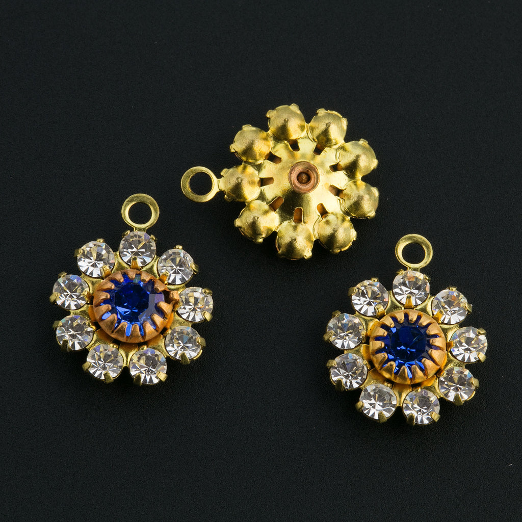 Vintage 18pp Swarovski sapphire crystal  1-ring raw brass flower pendant 11x13.5mm. PKG 2.  B9-2489