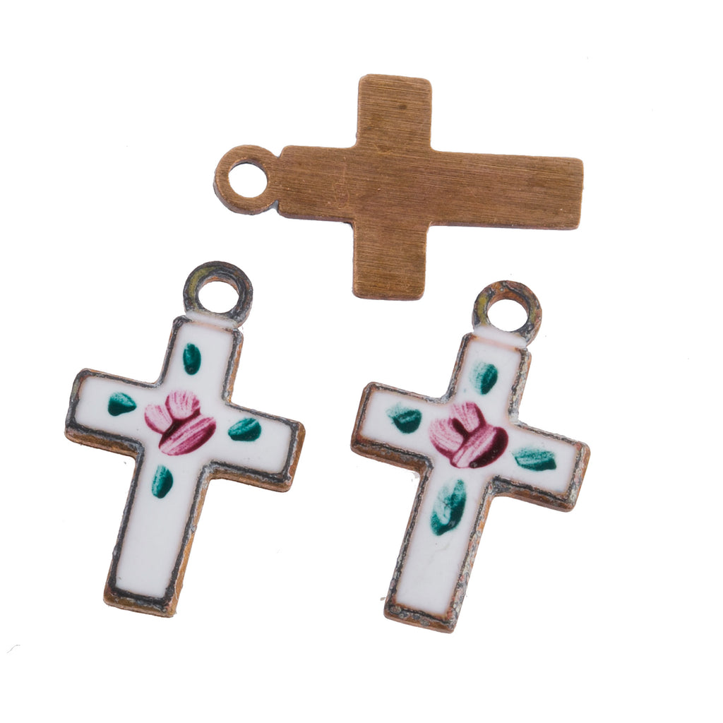 Vintage small gilt metal cross with enamel and painted flowers. 13x8mm. Package of 2. b9-2491