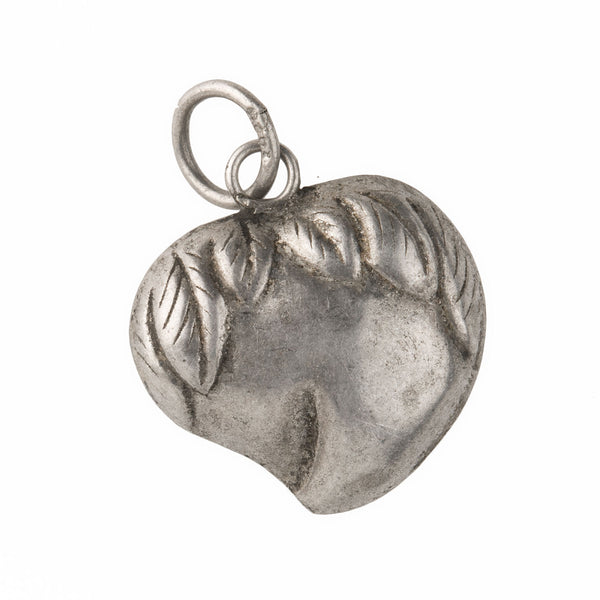 Chinese sterling silver peach charm.16mm Pkg. of 1. B9-0499(e)