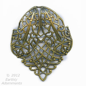 Edwardian style oxidized brass stamped filigree pendant. 35x40mm Pkg. of 1. b9-0531(e)