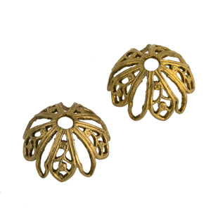Brass filigree beadcap. 12mm Pkg. of 4. b9-0580(e)