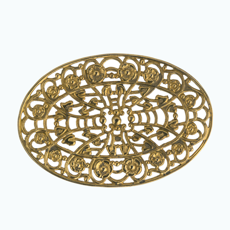 Vintage brass ornament 75x50mm. Pkg. of 1. b9-0581-2(e)