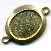 Oxidized Brass Two-Ring Finding for 10x8mm Oval Cabochon.  Package of 4.  b9-0619