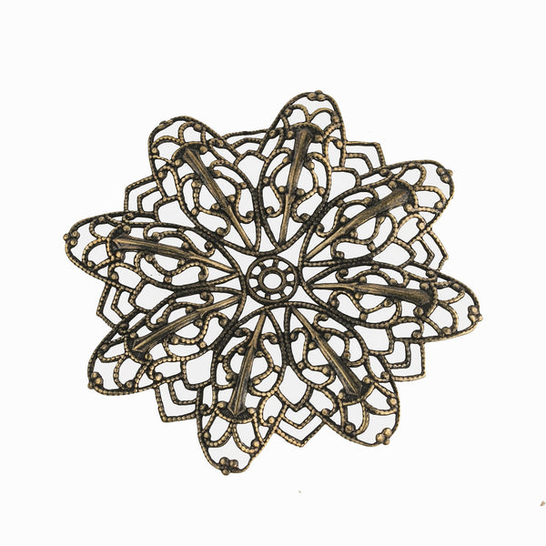 Dapped brass filigree pendant 55mm with center setting. Pkg. of 1. b9-0624(e)