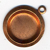 Vintage round brass pendant setting for 8-9mm cabachon. Pkg of 4. b9-0648