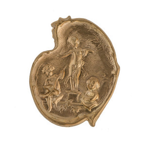 Vintage musical cherubs brass stamping. Pkg of 1. b9-0658