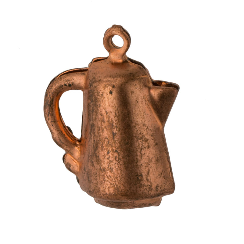 Vintage 3 dimensional coffee pot charm. 20x17mm Pkg. of 1. b9-0674(e)