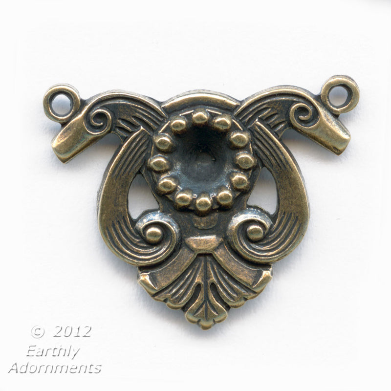 Oxidized solid brass Art Nouveau style connector with setting for a 4-5mm pointed back stone. .25x20mm. Sold individually. b9-0721(e)