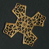 Oxidized brass filigree for wrapping 17mm inner circle 42mm diameter. Pkg. of 1. b9-0726(e)