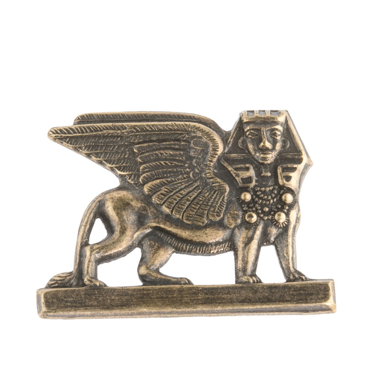 Vintage oxidized brass sphinx stamping. 35x26mm. Sold individually,. b9-0741