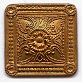 Copper stamped dapped square with earring post. Pkg. of 2. b9-1066(e)