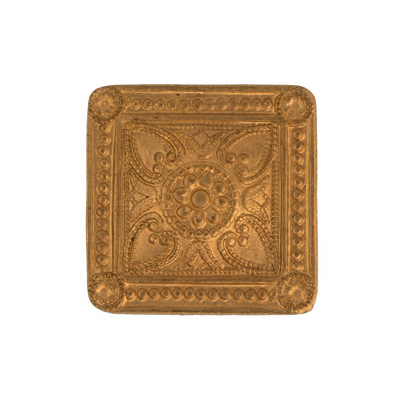 b9-0747-Copper over brass stamped dapped square with Victorian ornamental decor. Pkg. of 2. b9-0747(e)