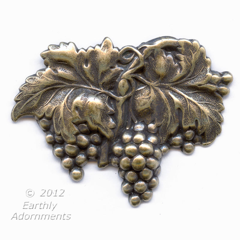 Vintage oxidied solid brass grape cluster stamping. Pkg. of 1. b9-0766(e)