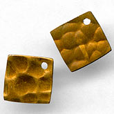 b9-0774-Hammered brass square diamond pendant. 10mm Pkg. of 10