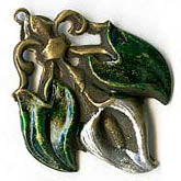 Vintage stamped brass pendant with calla lily and green enameled leaves. b9-0788