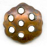 b9-0791-Vintage copper over steel perforated bead caps.. Pkg. of 16