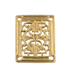 Brass Filigree Connector, 15 x 20mm Pkg. of 1. B9-0819(e)