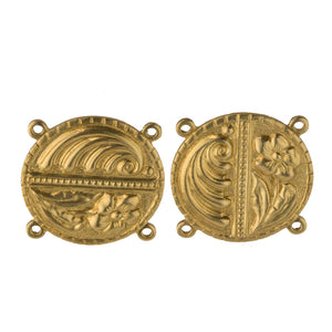 Stamped Brass 4 ring Connector with Flower & Ocean Wave Motif, 18mm diameter. Pkg of 2. B9-0832