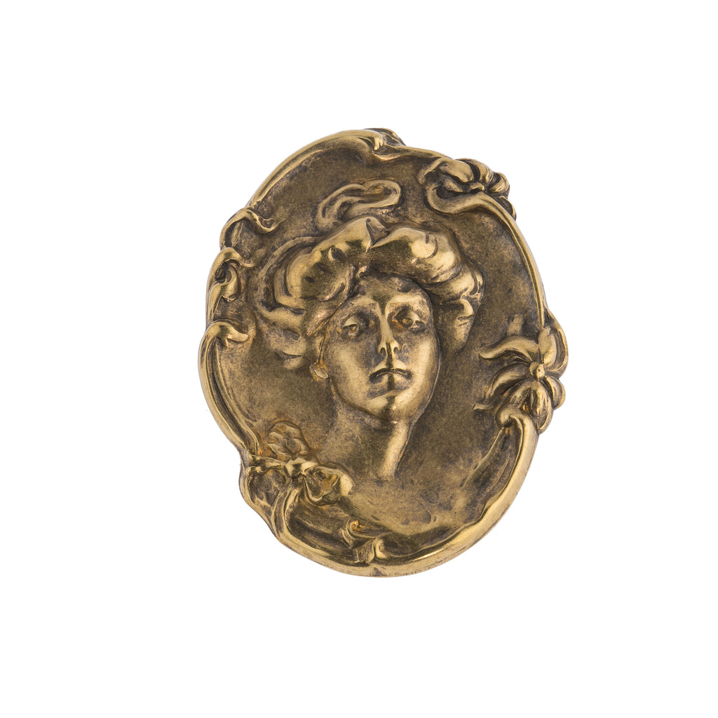 Victorian lady cameo oxidized brass stamping. 43 x 55 mm. 1 pc. b9-0846