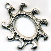 b9-0572 Vintage silver metal frame setting for 18x12mm cab. 33x28mm Pkg of 1