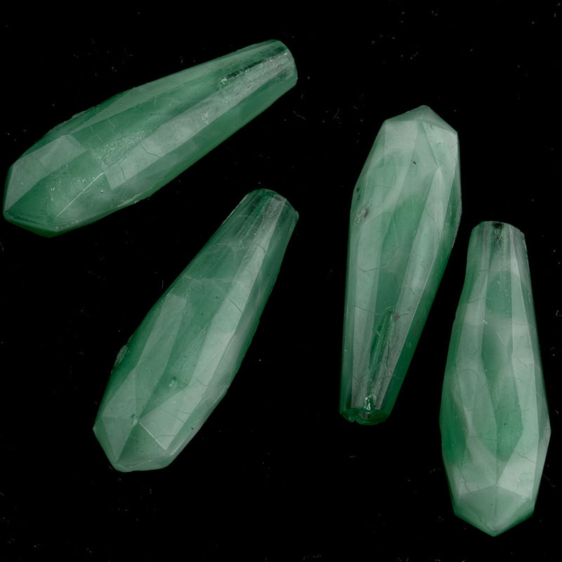 Bohemian mottled green faceted satin glass top drilled teardrop bead, 18x5mm Pkg of 2 Czechoslovakia. b11-gr-2041(e)