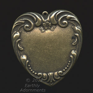 Stamped oxidized brass 1-ring Victorian style heart pendant 41x39mm Pkg. of 1. b9-0842(e)