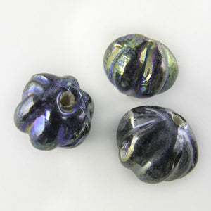 Vintage blue iris melons. 10mm. Pkg of 10. b11-bl-0899
