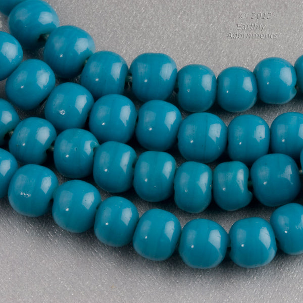 Chinese Peking glass beads in an opaque turquoise blue, 8mm, 10