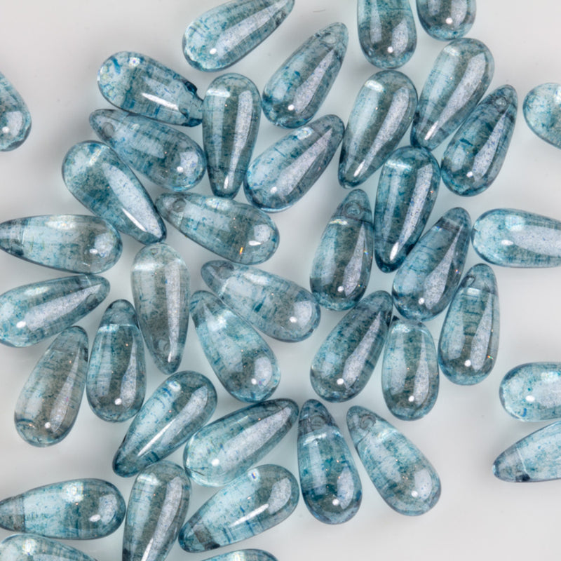Vintage Czech transparent teardrop beads with Montana blue icy finish, 11x5mm. Package of 12. b11-bl-2115