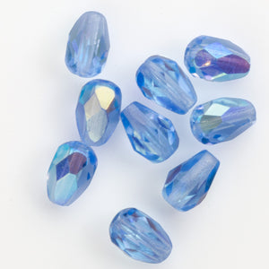 Vintage Czech firepolished faceted sapphire blue teardrops w/ AB finish, 7x5mm. Package of 10. b11-bl-2116(e)