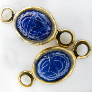 Vintage molded blue glass scarab in brass channel, 20x10mm. Pkg of 6. b11-bl-1143