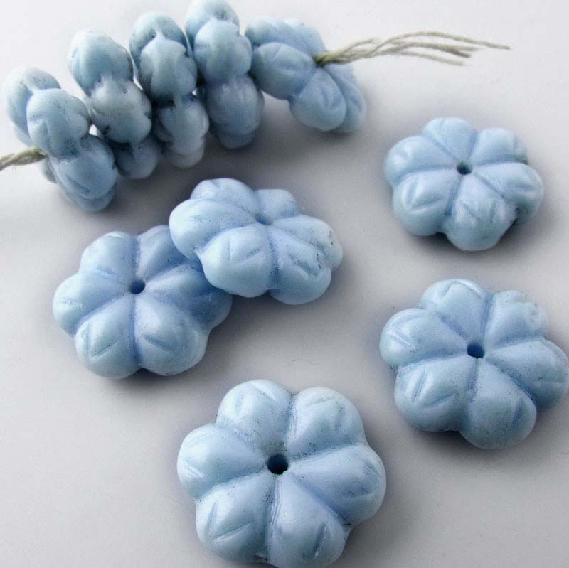 Vintage Robin's egg blue flat flower rondelles, 15x5mm, Pkg of 10. b11-bl-2017(e)
