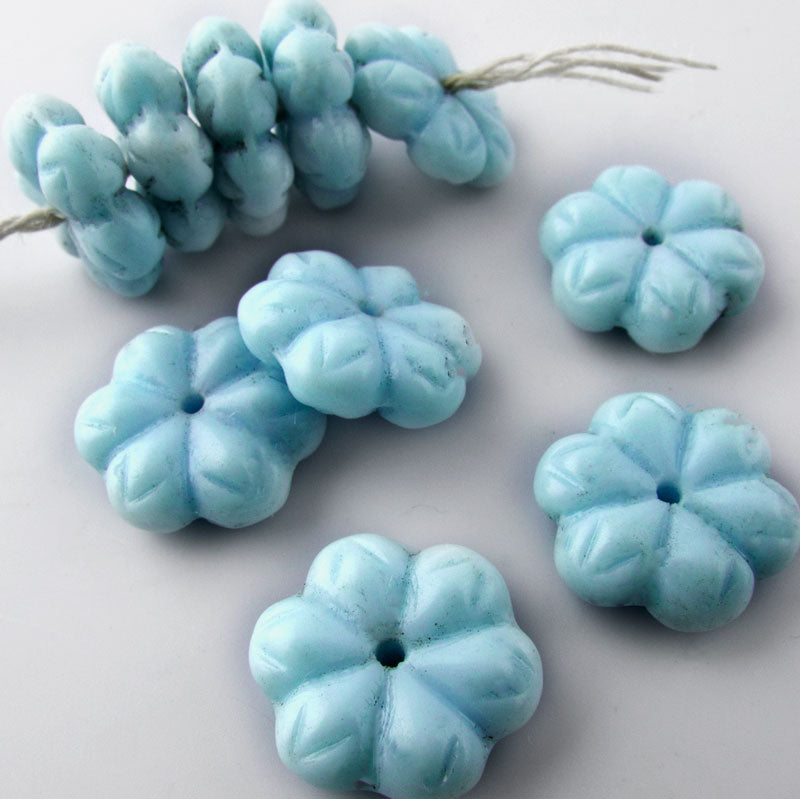 Vintage Robin's egg blue flat flower rondelles, 15x5mm, Pkg of 10. b11-bl-2016(e)