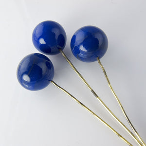 Vintage Japanese lapis blue rounds on wire, 6mm pkg of 10. b11-bl-1146(e)
