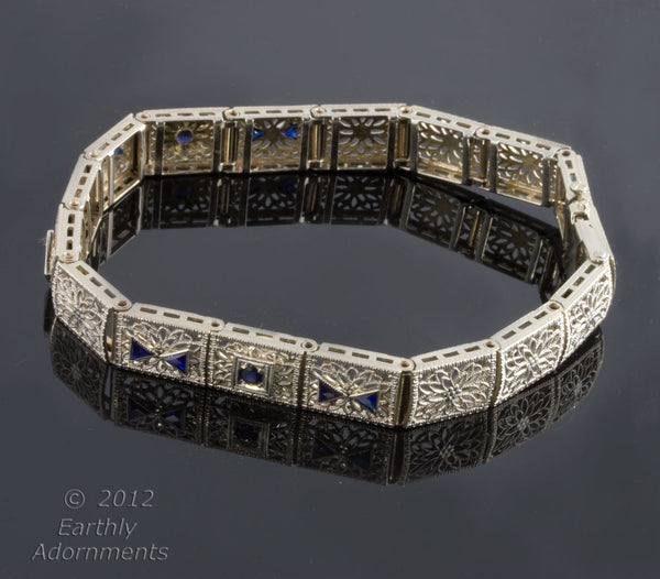 Brad695(e)-Art Deco Synthetic Sapphire Filigree 14k Gold Bracelet