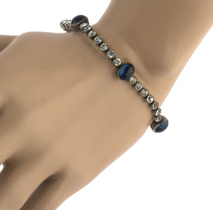 Art Deco 1920s sterling silver diamond paste bracelet with sapphire glass stones. brad697