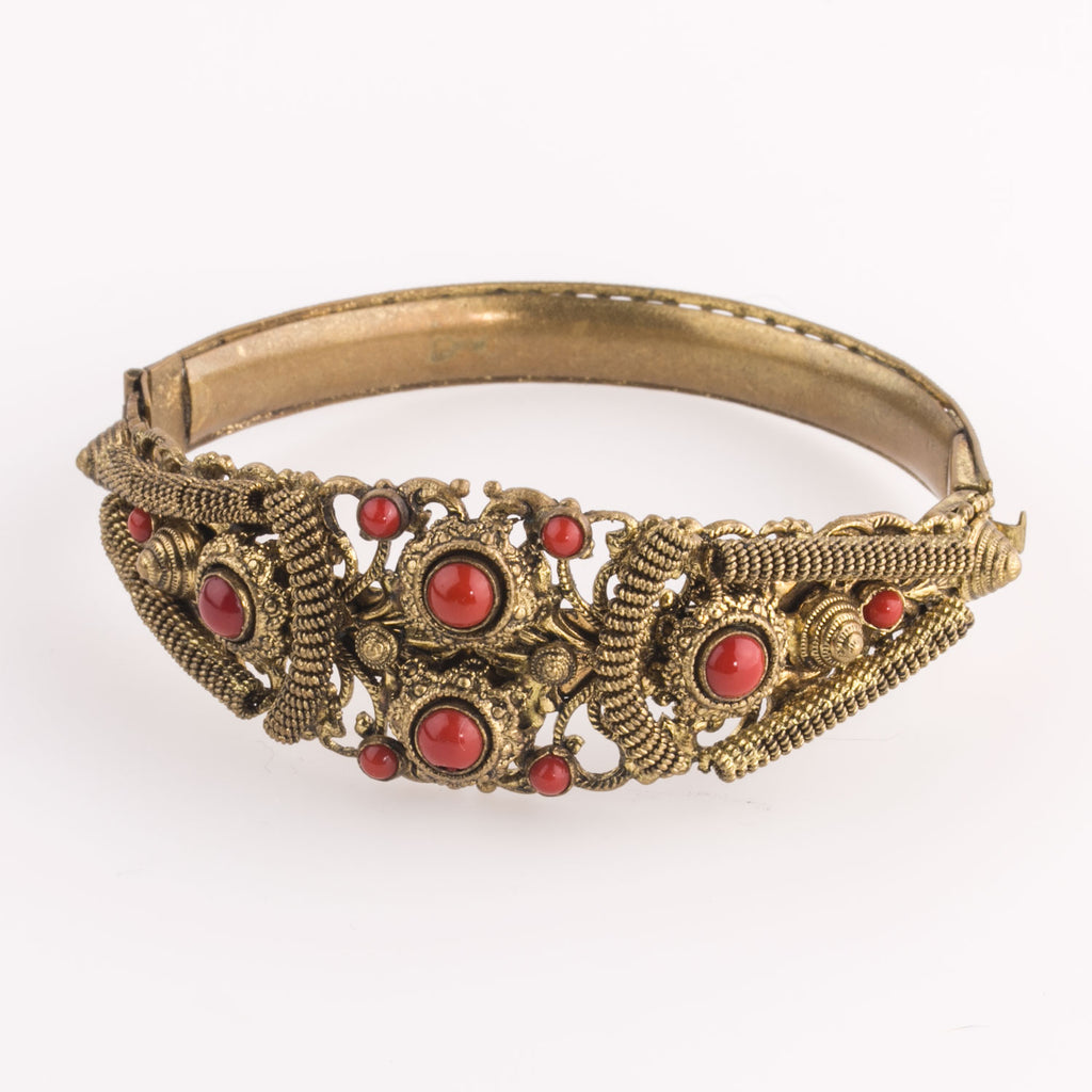Antique Victorian Etruscan Revival Bohemian Brass and Coral Glass Hinged Bangle Bracelet. brbg895